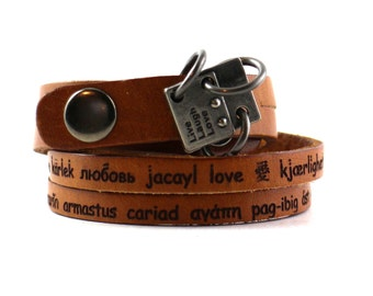 Genuine Leather Bracelet Laser Engraved Favorite Quote Quotes Personalized Customized Personal Custom Leather Wrap Cuff Wide. B006-PS