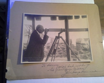 Vintage Photograph  of a man with Telescope .. circa 1910's .. Henry Miller News Picture service