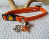 Protective Orange Cat Collar with Carnelian and Pentacle Charm For Protection Pagan Wiccan  Feline Familiar