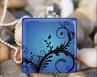 BEAUTIFUL BLUE DAMASK Black Fleur de Lis Scrollwork Design Glass Tile Pendant Necklace Keyring