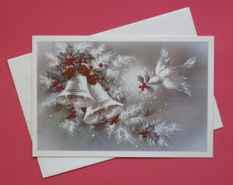 Vintage Sunshine CHRISTMAS Greeting Card -  Snow covered BELLS and DOVE - Glitter - 1950s 1960s