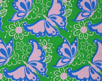 Vintage Tuttle Occasional Gift Wrap - Wrapping Paper - Bright MOD BUTTERFLIES - 1960s 1970s