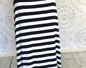 Black  And  White Striped  Maxi Skirt for Teen's or Women's by GreenStyle
