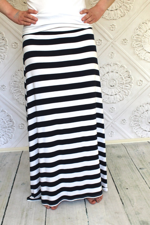 nautical navy blue and white striped maxi skirt for