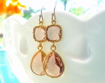 Champagne Earrings in Gold - Bridesmaid Earrings - Blush Earrings - Peach Earrings - Gift For Her - Wedding Jewelry, Bridesmaid Jewelry