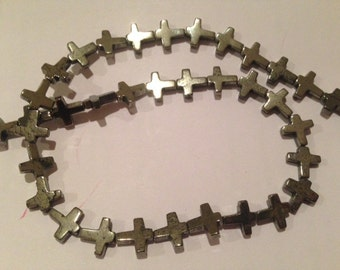 11x11mm skinny cross pyrite bead, 18 beads, half strand