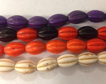 howlite pumpkin bead, 10x14mm, 28beads