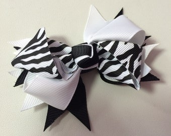 White & Zebra Print Ribbon Bow Hair Clip