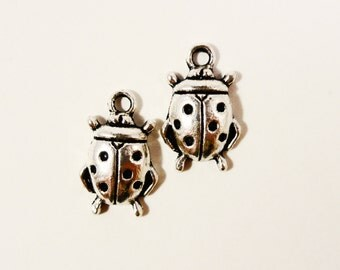 Silver Ladybug Charms 17x11mm Antique Silver Tone Metal Charms Insect Bug Charm Pendant Jewelry Making Supplies 10pcs