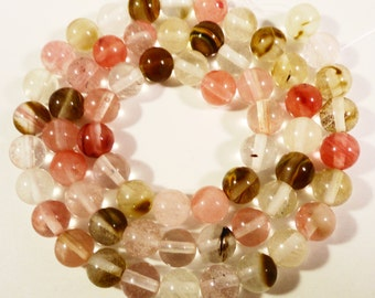 Watermelon Tourmaline Quartz Gemstone Beads 6mm Round Pink Multicolor Semiprecious Stone Beads on a Full 14 3/4 Inch Strand with 61 Beads