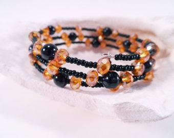 Black and Gold Crystal Memory Wire Bracelet