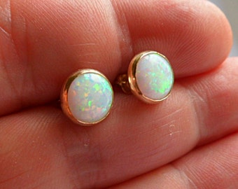 White opal, 14k gold stud earrings, 10mm wide cabochons, Australian white gemstone opal