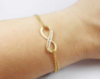 Double Strand Gold Infinity Bracelet- Mother's Day Gift Idea - Valentine's Day Gift Idea