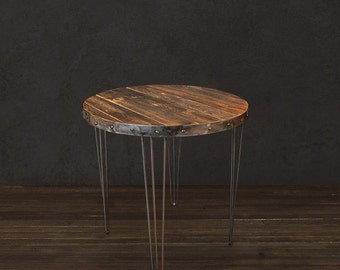 Reclaimed Wood Table/ Bar Table - Round/ Reclaimed Wood Furniture