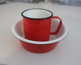 Retro Finel Finland red enamel mug and bowl