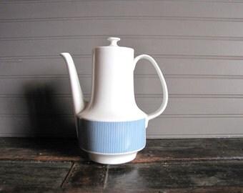 Vintage Blue and White Mid Century Coffee Pot Wunsiedel Bavaria  Tea Pot German