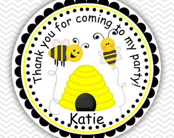 Bee - Personalized Stickers, Party Favor Tags, Thank You Tags, Gift Tags, Address labels, Birthday, Baby Shower