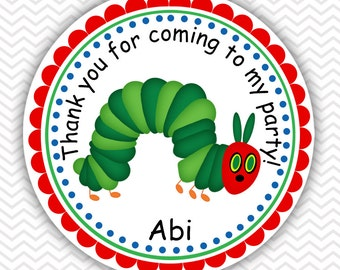 Hungry Caterpillar - Personalized Stickers, Party Favor Tags, Thank You Tags, Gift Tags, Address labels, Birthday, Baby Shower