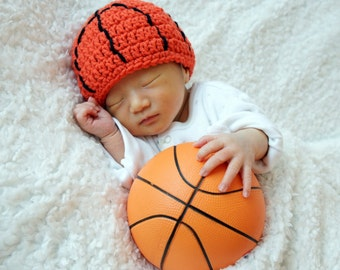 Basketball Hat, NBA, NCAA, Sports Hat, Crochet Baby Hat, Baby Hat, photo prop