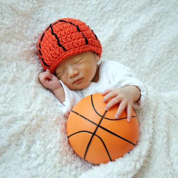 Basketball Hat, NBA, NCAA, Sports Hat, Crochet Baby Hat, Baby Hat, photo prop
