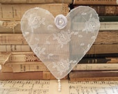 Lace and Wire Heart ,Window Hanging Heart, Shabby Chic Ornament