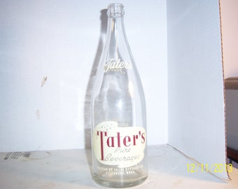 1950's Tater's Pure Beverages Fitchburg, Mass clear Bottle with brown and cream   ACL Quart Soda Bottle