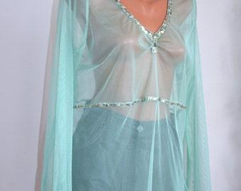 Vintage Sequined Blouse/Tunic, size M-L / 36 - 38 /