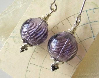 SALE! Purple blown glass bead earrings