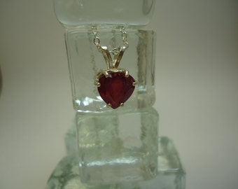 Cleftless Heart Ruby Necklace in Sterling Silver