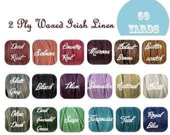 50 Yards-2 Ply Waxed Irish Linen Cord/ Thread-18 Colors Options