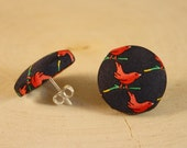 Little Bird Button Earrings- Cardinal Red Bird Fabric Button Earrings- Post/ Stud