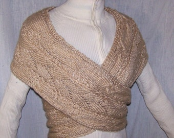 Instant download Knitting Pattern -  Wrap Sweater for Women - Cross Vest - Infinity Scarf - Shawl - Shrug - Cowl - in Beige