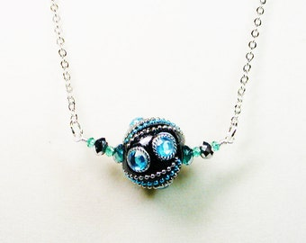 Black and Teal Beaded Necklace, Handmade Bead Necklace, Silver Tone Chain Necklace