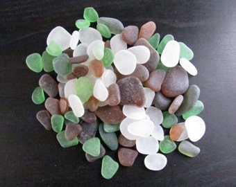 This variety pack containing 100 pieces of white, green and brown genuine sea glass  beach glass