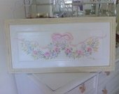 Antique Door Panel\Pink Rosebud Swag with Pale Pink Bow and Decorative Frame Picture Hanger