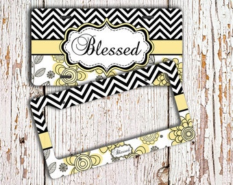 Personalized license plate or frame, Black chevron yellow floral Flowers car tag, Floral bike license plate monogram car accessory  (1293)