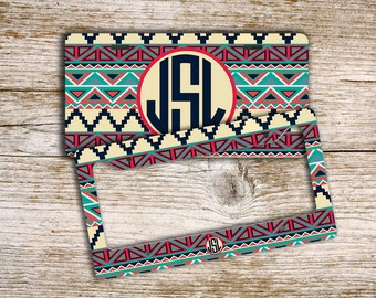 Personalized gifts for mom, Monogram car license plate or frame, Tribal keychain, Cute Aztec seat belt cover, ATV license plate  (1316)