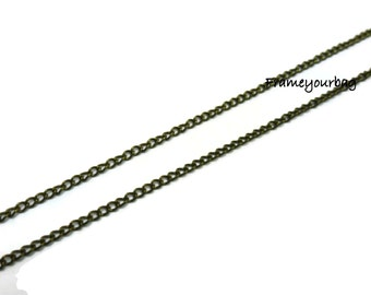 5 m ( 5,47 yd ) of antique brass chain 2x2mm very delicate (CH20)
