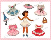 INSTANT DOWNLOAD, Printable Paper Doll, African American Girl, Digital Collage Sheet, Altered Art