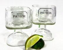 Small Patron Tequila Bottle Margarita Drinking Glass 375ml