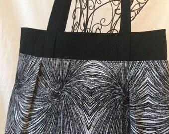 Sweet Pea Purse, Shoulder Bag, Fabric Purse, Medium Purse, Fabric Handbag, Black and White Purse, #4001