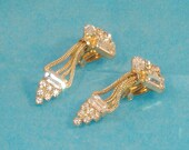 Vintage Gold Plate with Emerald Cut and Round Rhinestone Costume Jewelry - Clip-On Earrings - Sweet Estate Share - Perfect Mothers Day Gift