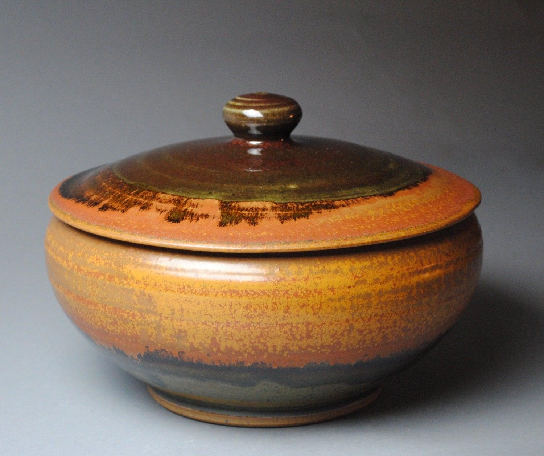 Ceramic Stoneware Baking : Clay lidded casserole baking dish red orange p