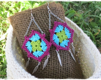 Granny Square Earrings-Crochet-Dangle-Chain-Feather Charms-Boho-Hippie-Vintage Inspired