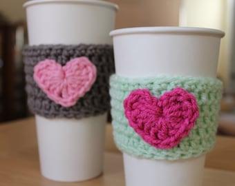 Coffee cup sleeve cozy - heart crochet coffee sleeve - ANY color combo
