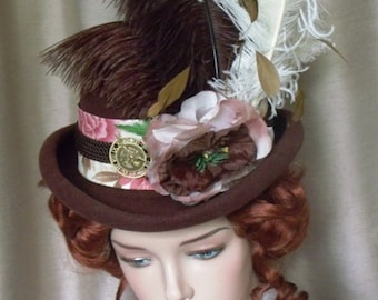 Steampunk Hat Women Ladies Brown Felt Rolled Brim
