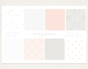 Emily Rose seamless web tiles & high resolution digital paper (website or blog background)