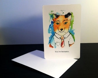 Valentine's Day Card Fantastic Mr Fox Blank Card / Archival 4x6 inch watercolor print / nerd geek girl guy dork Mister Fox Ms Fox