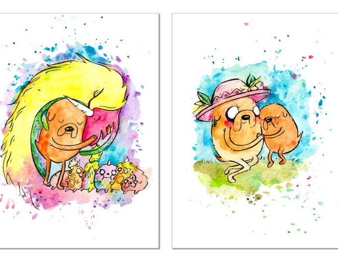 Mother's Day Two Print Set Lady and Jake, Mom / Each 5x7 inch inch inkjet print / Adventure Time Fan Art babies