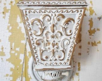 Vintage 1964 Cottage Chic Gold and White Plastic Wall Sconce, Oxford Plastics Inc. Lighting, Shabby Chic, Fleur De Lis, Coach Lantern